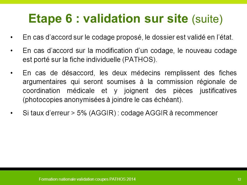 Formation nationale validation coupes PATHOS 2014 12 Etape 6 : validation sur site (suite) En cas d'accord sur le codage proposé, le dossier est valid