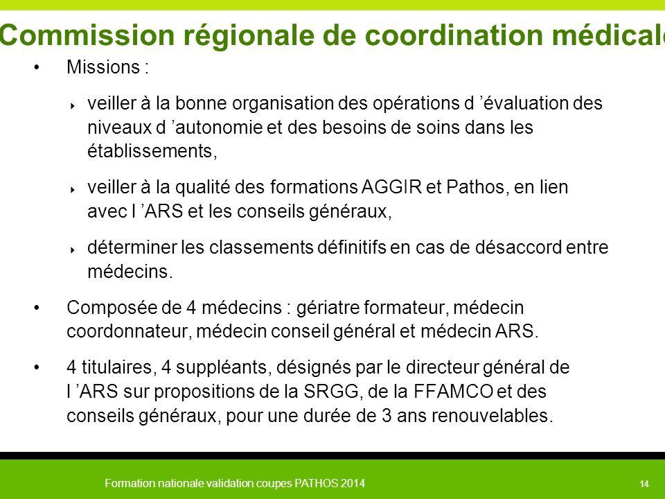 Formation nationale validation coupes PATHOS 2014 14 Commission régionale de coordination médicale Missions :  veiller à la bonne organisation des op