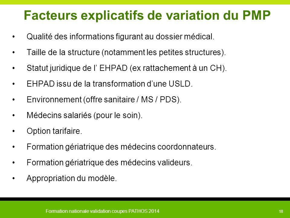 Formation nationale validation coupes PATHOS 2014 18 Facteurs explicatifs de variation du PMP Qualité des informations figurant au dossier médical. Ta