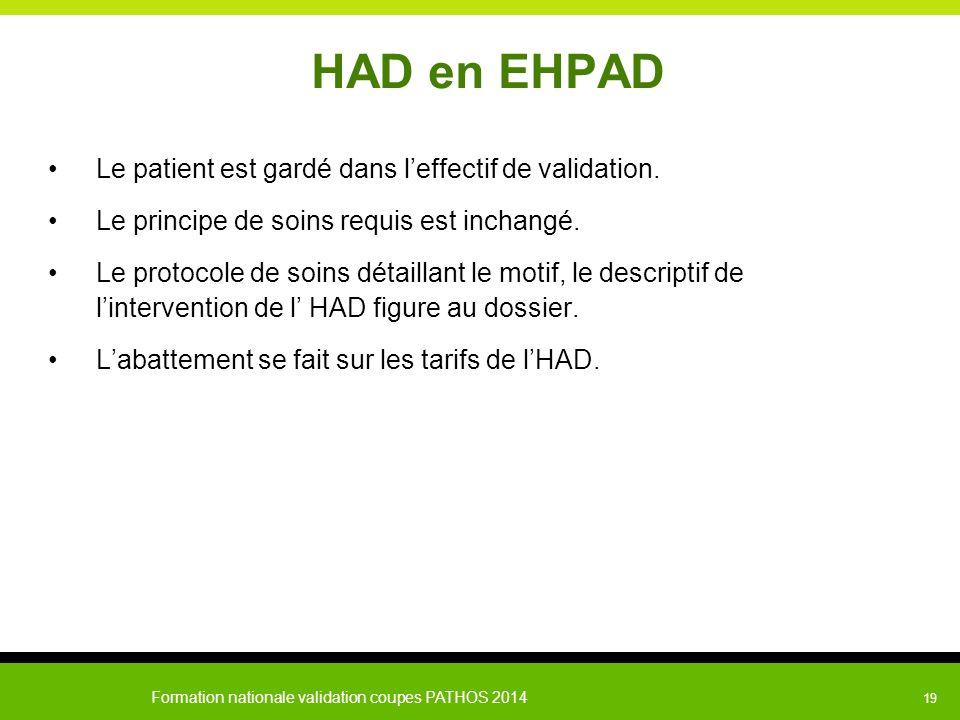 Formation nationale validation coupes PATHOS 2014 19 HAD en EHPAD Le patient est gardé dans l'effectif de validation. Le principe de soins requis est