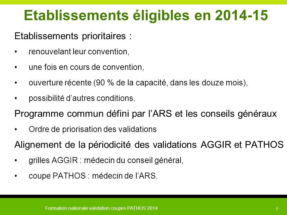 Formation nationale validation coupes PATHOS 2014 2 Etablissements éligibles en 2014-15 Etablissements prioritaires : renouvelant leur convention, une
