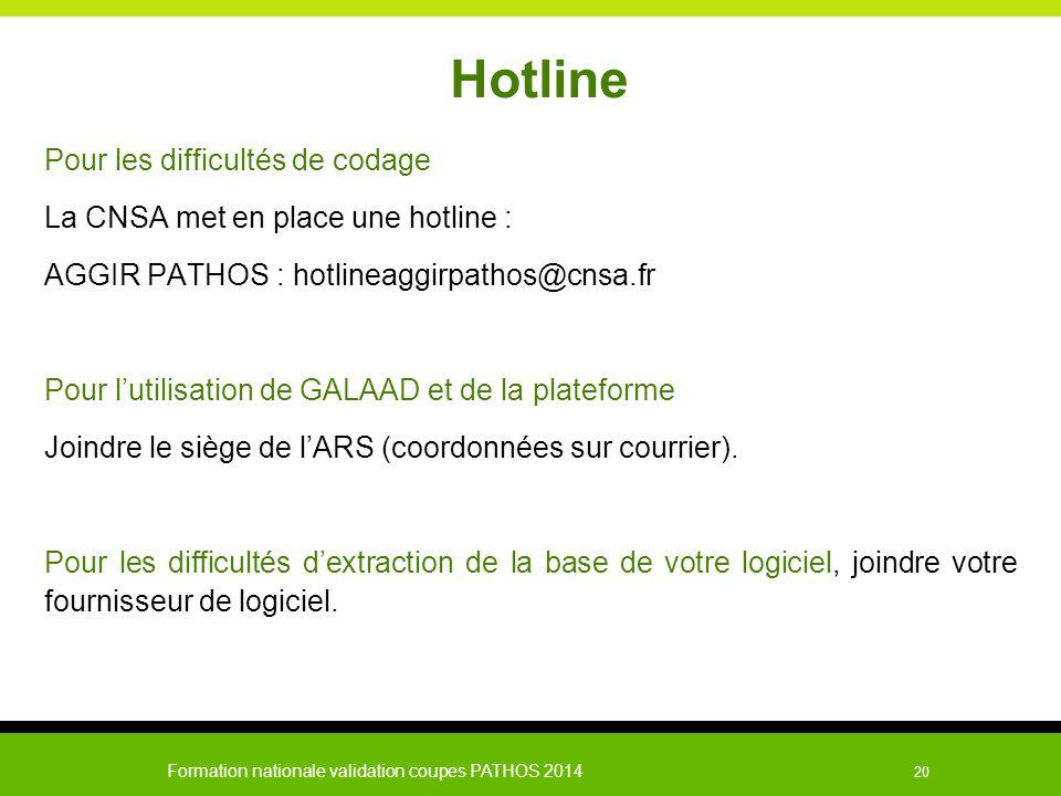 Formation nationale validation coupes PATHOS 2014 20 Hotline Pour les difficultés de codage La CNSA met en place une hotline : AGGIR PATHOS : hotlinea