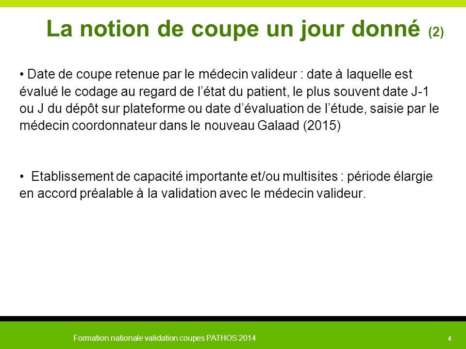 Formation nationale validation coupes PATHOS 2014 4 La notion de coupe un jour donné (2) Date de coupe retenue par le médecin valideur : date à laquel