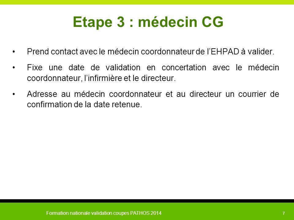 Formation nationale validation coupes PATHOS 2014 7 Etape 3 : médecin CG Prend contact avec le médecin coordonnateur de l'EHPAD à valider. Fixe une da