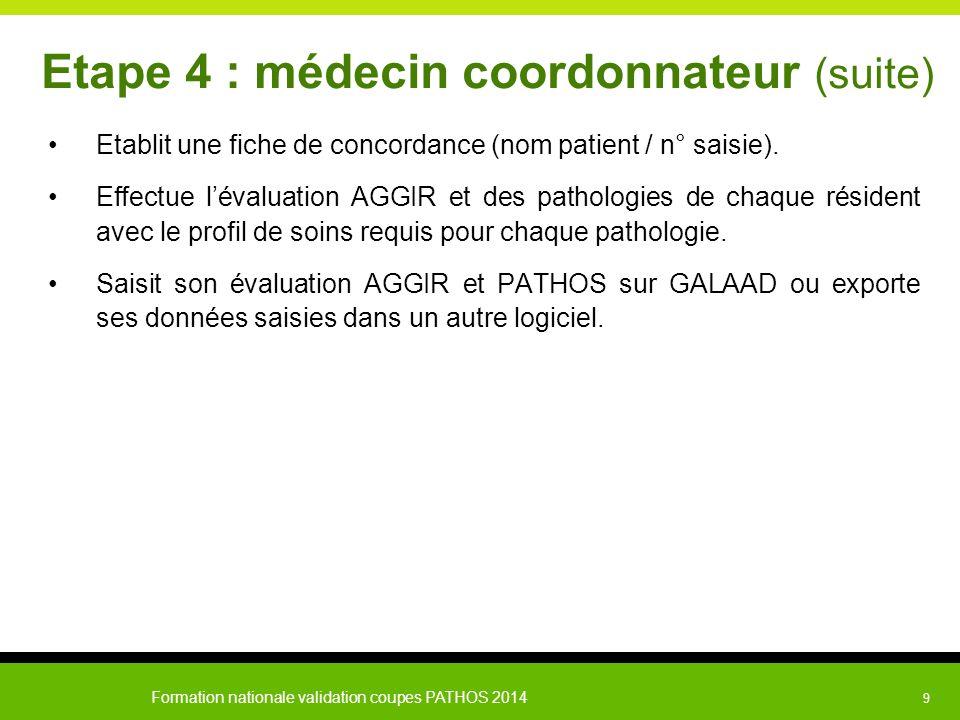 Formation nationale validation coupes PATHOS 2014 9 Etape 4 : médecin coordonnateur (suite) Etablit une fiche de concordance (nom patient / n° saisie)