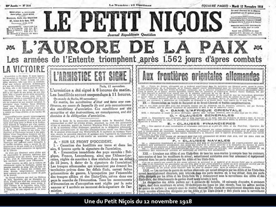 Une du Petit Niçois du 12 novembre 1918