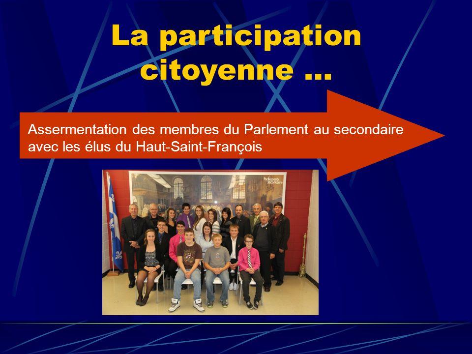 La participation citoyenne … Assermentation des membres du Parlement au secondaire avec les élus du Haut-Saint-François