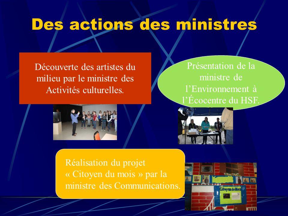 Des actions des ministres Découverte des artistes du milieu par le ministre des Activités culturelles.