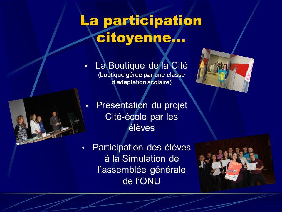 La participation citoyenne… La Boutique de la Cité (boutique gérée par une classe d'adaptation scolaire) Présentation du projet Cité-école par les élèves Participation des élèves à la Simulation de l'assemblée générale de l'ONU
