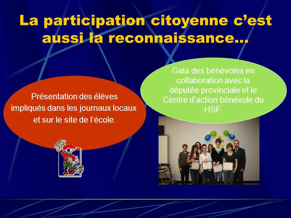 La participation citoyenne c'est aussi la reconnaissance… Présentation des élèves impliqués dans les journaux locaux et sur le site de l'école.