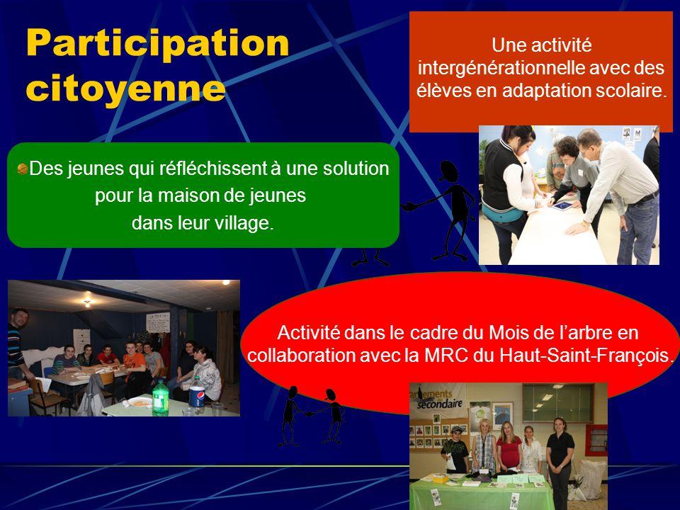 Participation citoyenne Activité dans le cadre du Mois de l'arbre en collaboration avec la MRC du Haut-Saint-François.