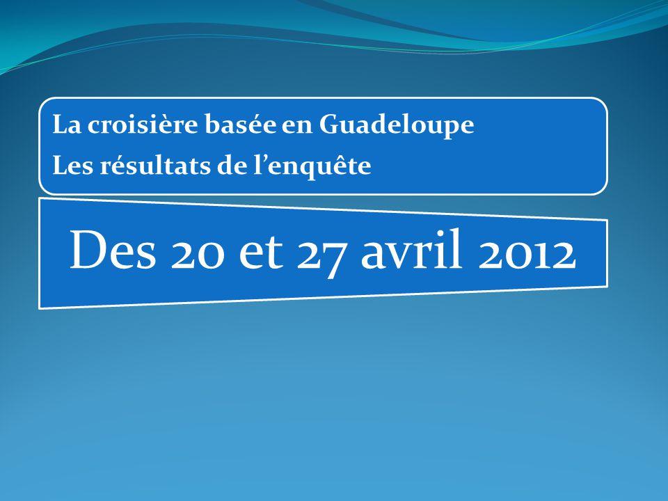 La croisière basée en Guadeloupe Les résultats de l'enquête Des 20 et 27 avril 2012