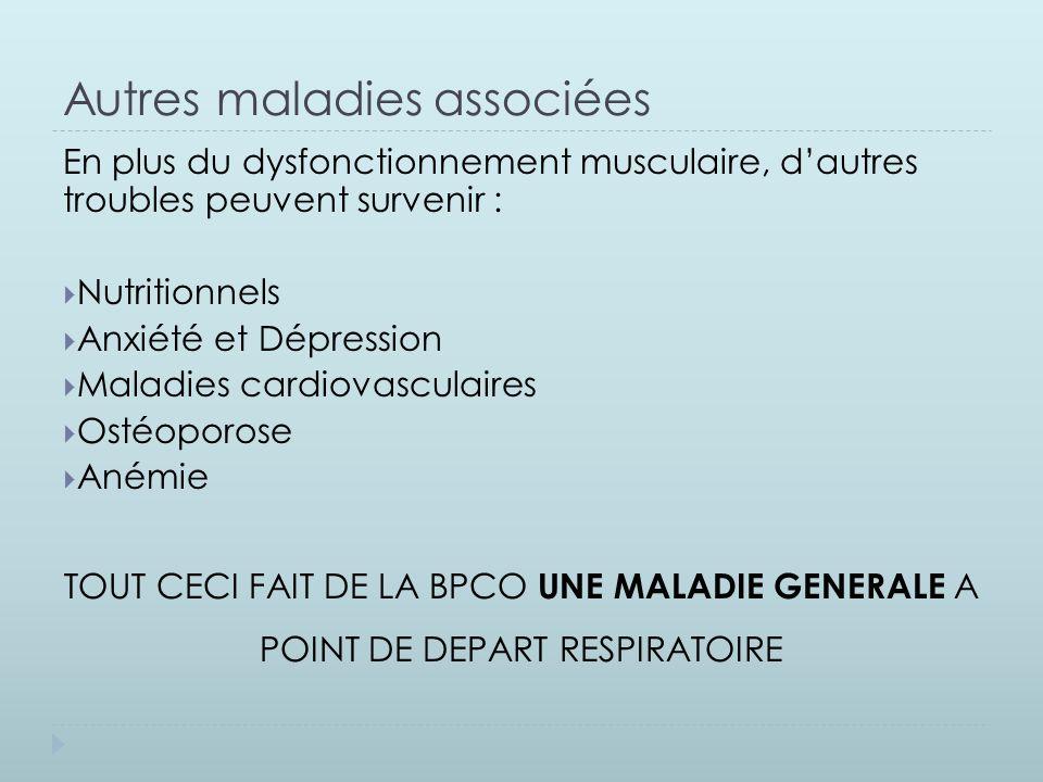 Autres maladies associées En plus du dysfonctionnement musculaire, d'autres troubles peuvent survenir :  Nutritionnels  Anxiété et Dépression  Mala