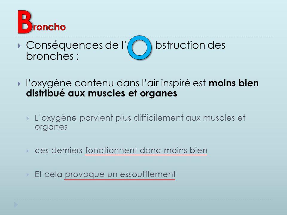  Conséquences de l' bstruction des bronches :  l'oxygène contenu dans l'air inspiré est moins bien distribué aux muscles et organes  L'oxygène parv