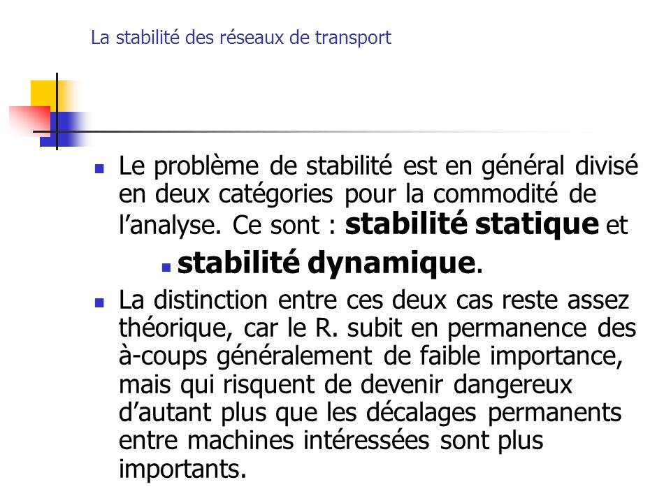 La stabilité des réseaux de transport Le problème de stabilité est en général divisé en deux catégories pour la commodité de l'analyse. Ce sont : stab