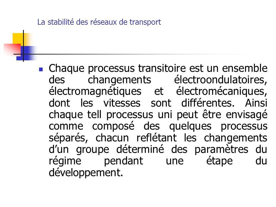 La stabilité des réseaux de transport Chaque processus transitoire est un ensemble des changements électroondulatoires, électromagnétiques et électrom