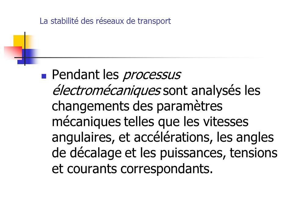 La stabilité des réseaux de transport Pendant les processus électromécaniques sont analysés les changements des paramètres mécaniques telles que les v
