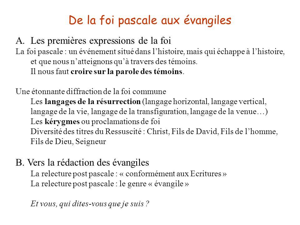 De la foi pascale aux évangiles A.Les premières expressions de la foi La foi pascale : un événement situé dans l'histoire, mais qui échappe à l'histoi