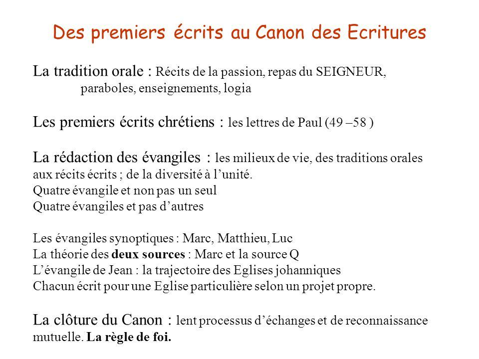 Des premiers écrits au Canon des Ecritures La tradition orale : Récits de la passion, repas du SEIGNEUR, paraboles, enseignements, logia Les premiers