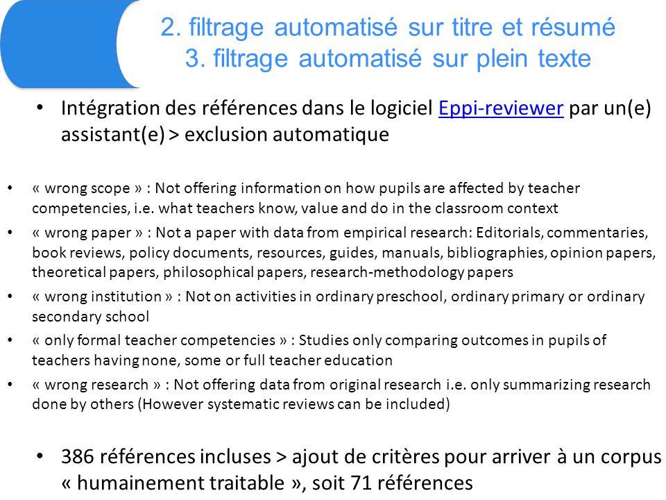2. filtrage automatisé sur titre et résumé 3.