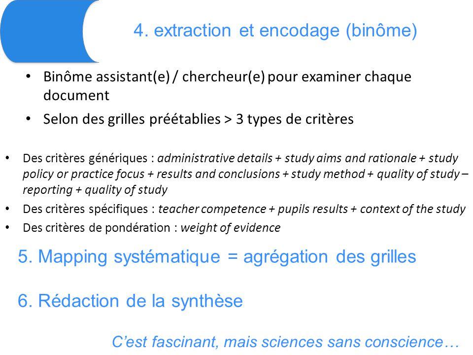 4. extraction et encodage (binôme) Binôme assistant(e) / chercheur(e) pour examiner chaque document Selon des grilles préétablies > 3 types de critère