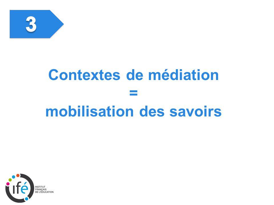Contextes de médiation = mobilisation des savoirs