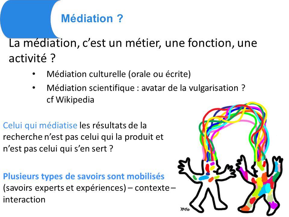 Médiation . La médiation, c'est un métier, une fonction, une activité .