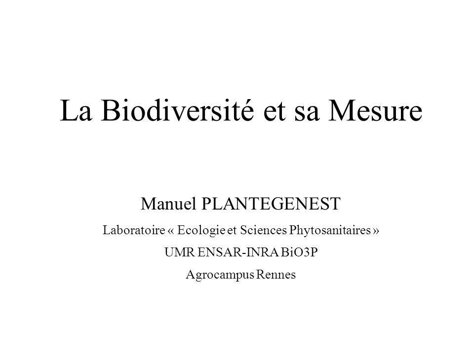 La Biodiversité et sa Mesure Manuel PLANTEGENEST Laboratoire « Ecologie et Sciences Phytosanitaires » UMR ENSAR-INRA BiO3P Agrocampus Rennes