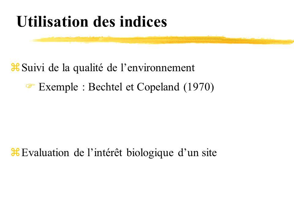 Utilisation des indices zSuivi de la qualité de l'environnement  Exemple : Bechtel et Copeland (1970) zEvaluation de l'intérêt biologique d'un site