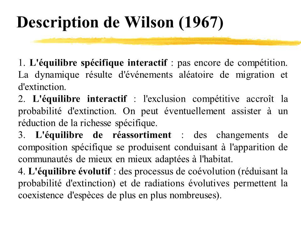 Description de Wilson (1967) 1. L'équilibre spécifique interactif : pas encore de compétition. La dynamique résulte d'événements aléatoire de migratio