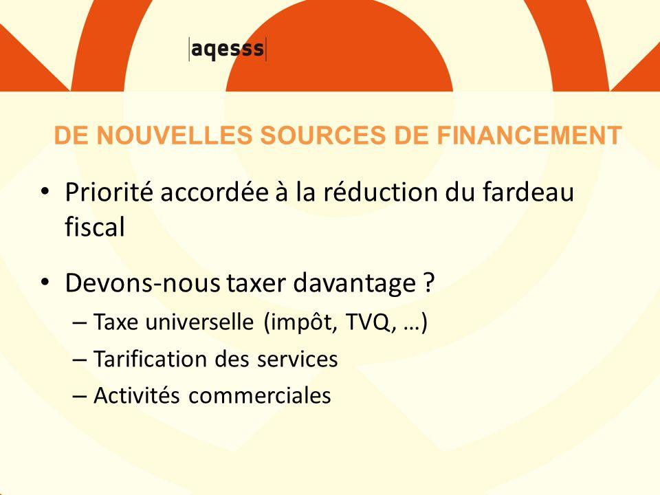 DE NOUVELLES SOURCES DE FINANCEMENT Priorité accordée à la réduction du fardeau fiscal Devons-nous taxer davantage ? – Taxe universelle (impôt, TVQ, …
