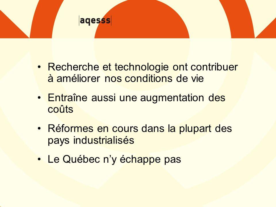 Recherche et technologie ont contribuer à améliorer nos conditions de vie Entraîne aussi une augmentation des coûts Réformes en cours dans la plupart des pays industrialisés Le Québec n'y échappe pas