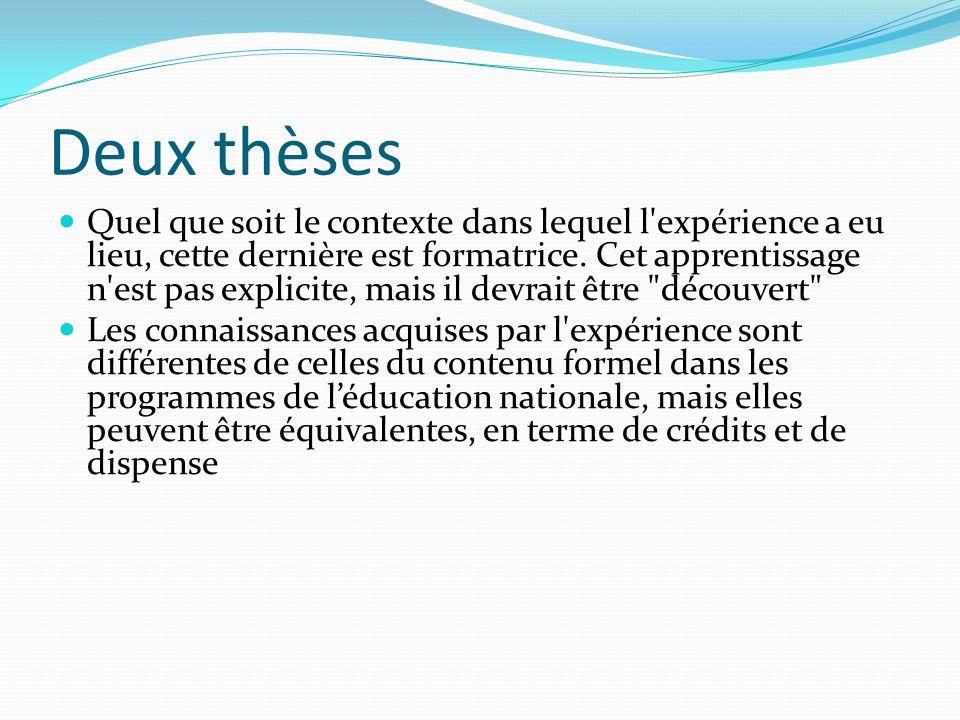 Deux thèses Quel que soit le contexte dans lequel l expérience a eu lieu, cette dernière est formatrice.