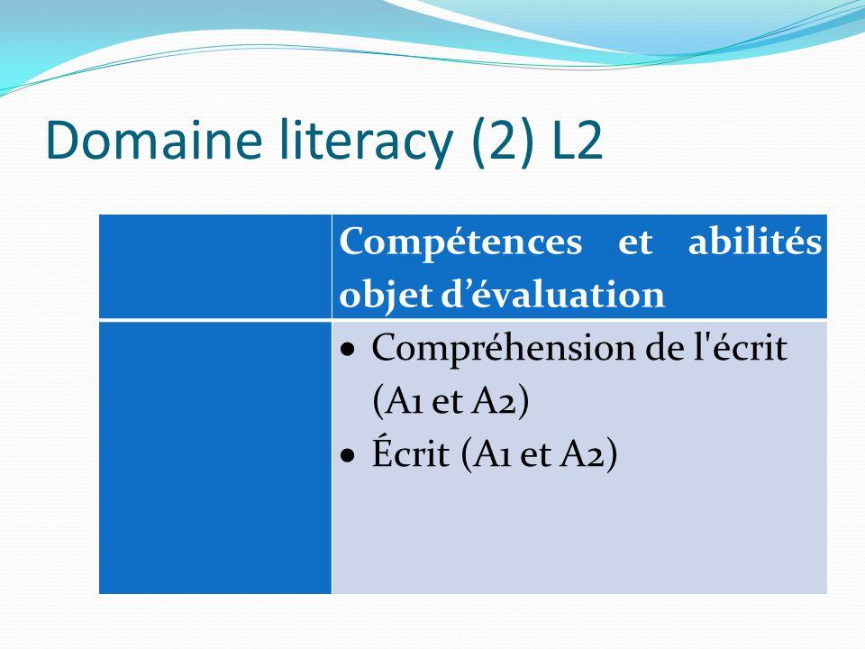 Domaine literacy (2) L2 Compétences et abilités objet d'évaluation  Compréhension de l écrit (A1 et A2)  Écrit (A1 et A2)