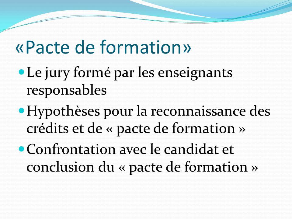 «Pacte de formation» Le jury formé par les enseignants responsables Hypothèses pour la reconnaissance des crédits et de « pacte de formation » Confrontation avec le candidat et conclusion du « pacte de formation »