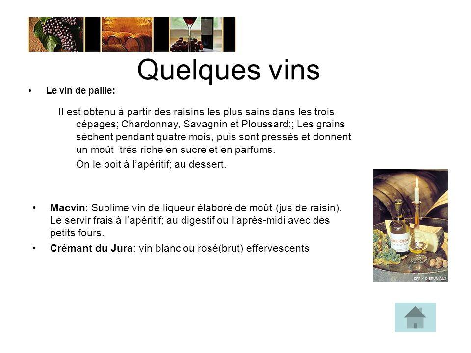 Quelques vins Le vin de paille: Il est obtenu à partir des raisins les plus sains dans les trois cépages; Chardonnay, Savagnin et Ploussard:; Les grains sèchent pendant quatre mois, puis sont pressés et donnent un moût très riche en sucre et en parfums.