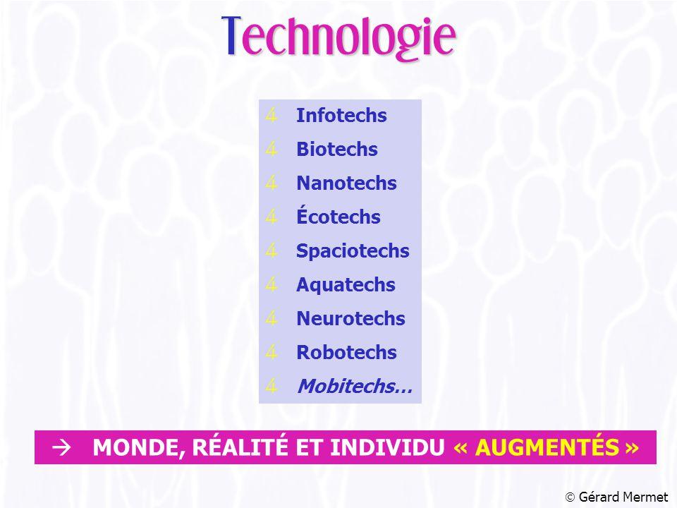 4 Infotechs 4 Biotechs 4 Nanotechs 4 Écotechs 4 Spaciotechs 4 Aquatechs 4 Neurotechs 4 Robotechs 4 Mobitechs…  Gérard Mermet Technologie  MONDE, RÉALITÉ ET INDIVIDU « AUGMENTÉS »