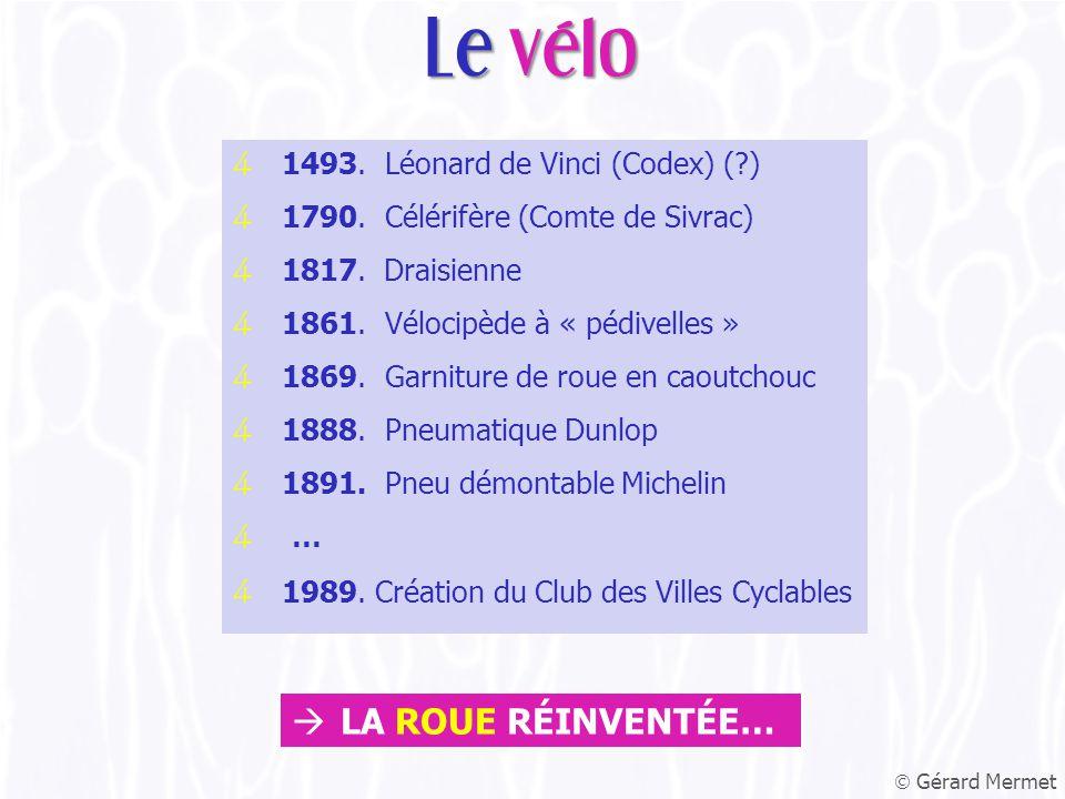 4 1493. Léonard de Vinci (Codex) ( ) 4 1790. Célérifère (Comte de Sivrac) 4 1817.