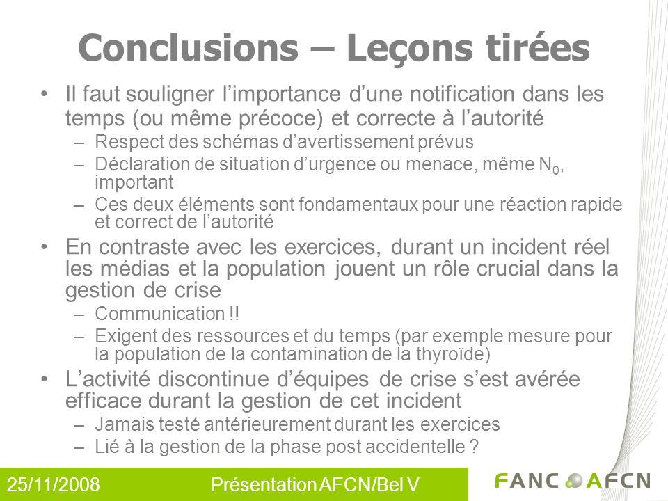 25/11/2008 Présentation AFCN/Bel V Conclusions – Leçons tirées Il faut souligner l'importance d'une notification dans les temps (ou même précoce) et c
