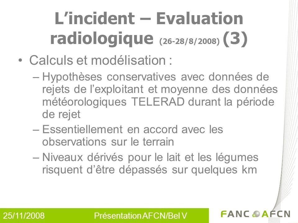 25/11/2008 Présentation AFCN/Bel V L'incident – Evaluation radiologique (26-28/8/2008) (3) Calculs et modélisation : –Hypothèses conservatives avec do