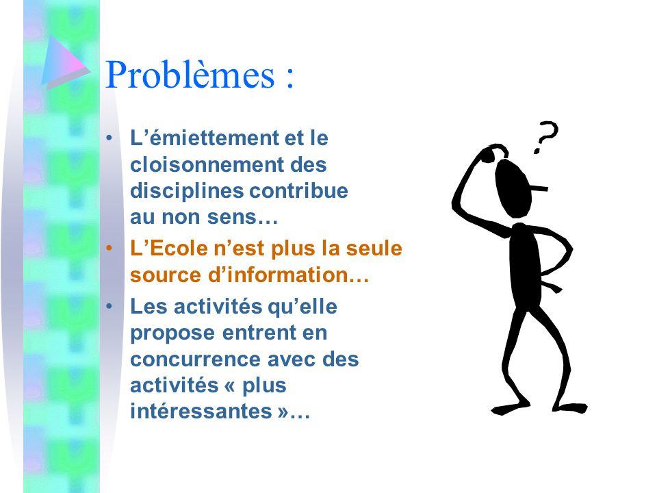 Problèmes : L'émiettement et le cloisonnement des disciplines contribue au non sens… L'Ecole n'est plus la seule source d'information… Les activités qu'elle propose entrent en concurrence avec des activités « plus intéressantes »…