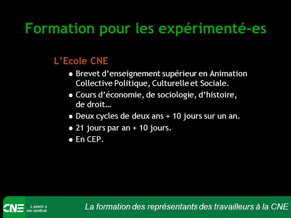La formation des représentants des travailleurs à la CNE Formation pour les expérimenté-es L'Ecole CNE Brevet d'enseignement supérieur en Animation Co