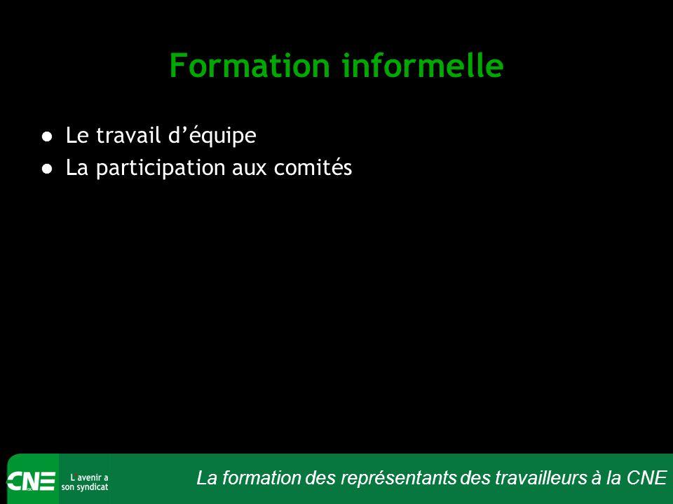 La formation des représentants des travailleurs à la CNE Formation informelle Le travail d'équipe La participation aux comités