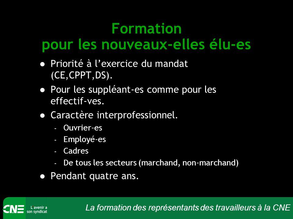 La formation des représentants des travailleurs à la CNE Formation pour les nouveaux-elles élu-es Priorité à l'exercice du mandat (CE,CPPT,DS). Pour l