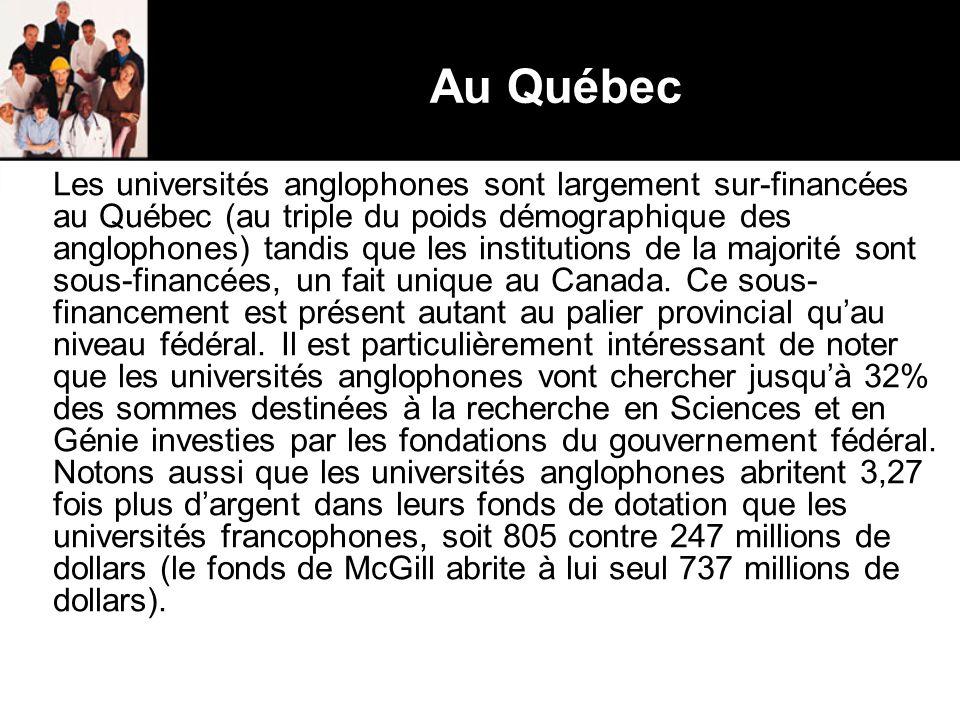 Au Québec Les universités anglophones sont largement sur-financées au Québec (au triple du poids démographique des anglophones) tandis que les institutions de la majorité sont sous-financées, un fait unique au Canada.