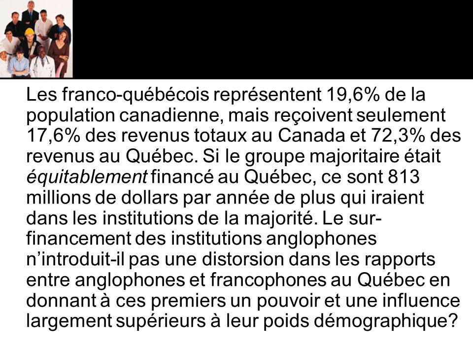 Les franco-québécois représentent 19,6% de la population canadienne, mais reçoivent seulement 17,6% des revenus totaux au Canada et 72,3% des revenus au Québec.