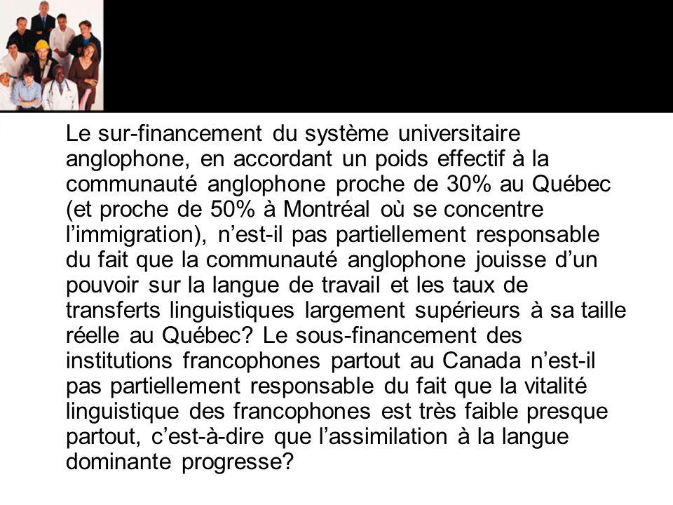 Le sur-financement du système universitaire anglophone, en accordant un poids effectif à la communauté anglophone proche de 30% au Québec (et proche de 50% à Montréal où se concentre l'immigration), n'est-il pas partiellement responsable du fait que la communauté anglophone jouisse d'un pouvoir sur la langue de travail et les taux de transferts linguistiques largement supérieurs à sa taille réelle au Québec.