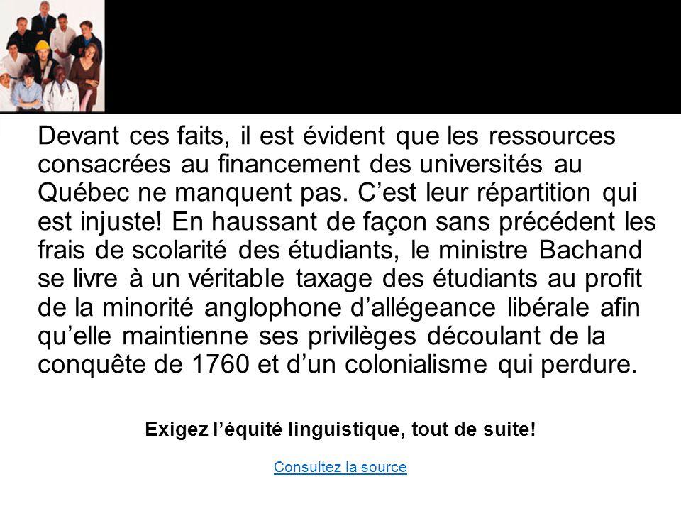 Devant ces faits, il est évident que les ressources consacrées au financement des universités au Québec ne manquent pas.