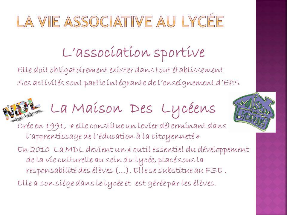 L'association sportive Elle doit obligatoirement exister dans tout établissement Ses activités sont partie intégrante de l'enseignement d'EPS La Maiso