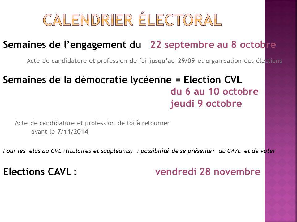 Semaines de l'engagement du 22 septembre au 8 octobre Acte de candidature et profession de foi jusqu'au 29/09 et organisation des élections Semaines d